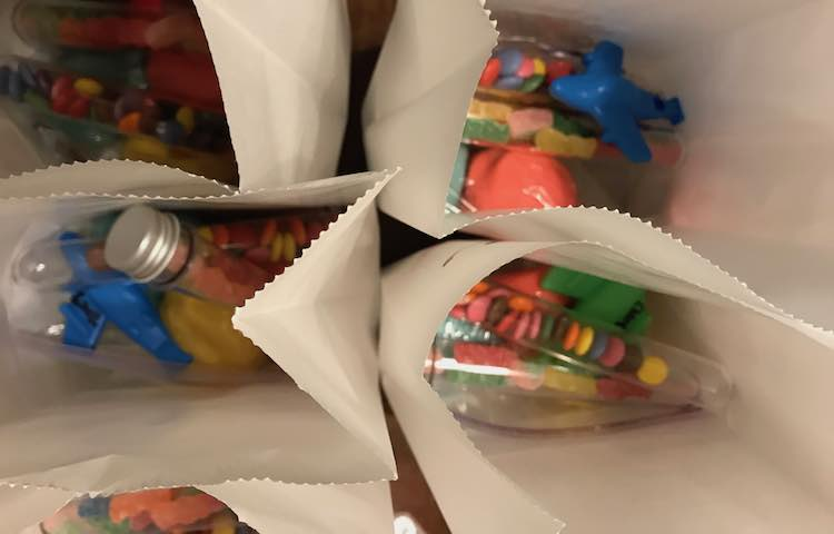 Bagged candy and playdough.