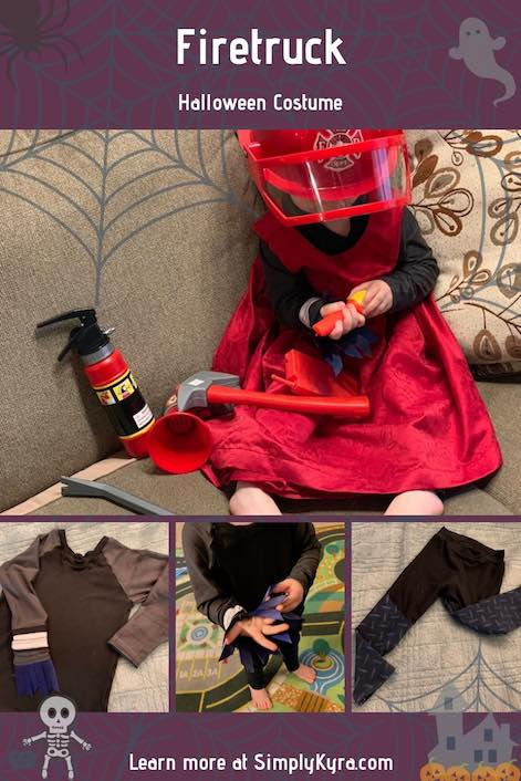 After looking around for Firetruck ideas I decided to make my own. Here is how we created our firetruck costume. Learn more at SImplyKyra.com.
