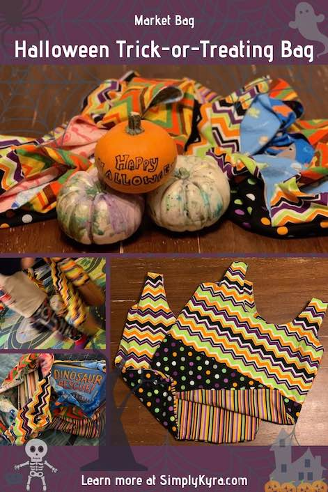 Sew up a simple Halloween trick or treat bag. Perfect for making your rounds, using it as a grocery bag, or bringing it along to the library.