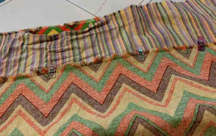 I clipped the fabric I wanted at the bottom to one of my 'Thanksgiving' chevron fabric.