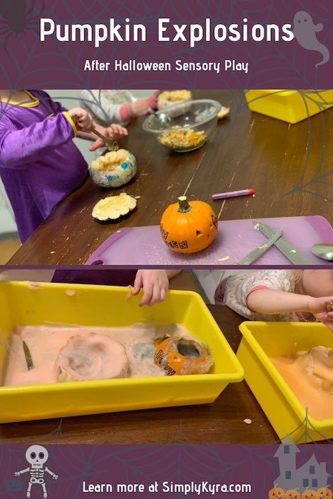 Are you looking for a fun way to say goodbye to your Halloween pumpkins? Why not use sensory play to get one more activity out of them. I was going to use baking soda and vinegar volcanos but ended up going with elephant paste instead. Read and watch a timelapse of it at SimplyKyra.com.