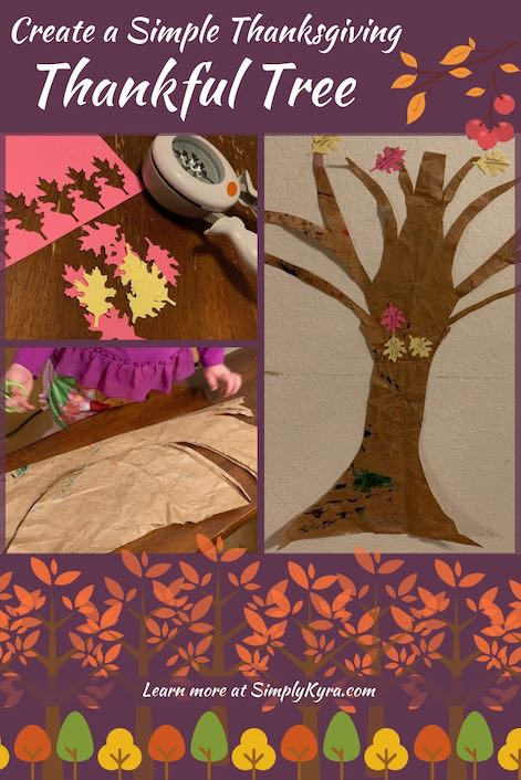 "Are you trying to come up things to do with your kids for Thanksgiving? I set up a simple paper 'Thankful Tree' for Thanksgiving on our wall and my kids love it! Check out my full post ""Create a Simple Thanksgiving Thankful Tree"" on SimplyKyra.com for more information."