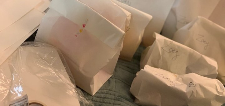 I marked ten white paper bags with Zoey's name and numbered them one to ten. I then put each pile into their corresponding bag and taped it closed.