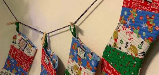 Closer look at the finished Christmas stockings.