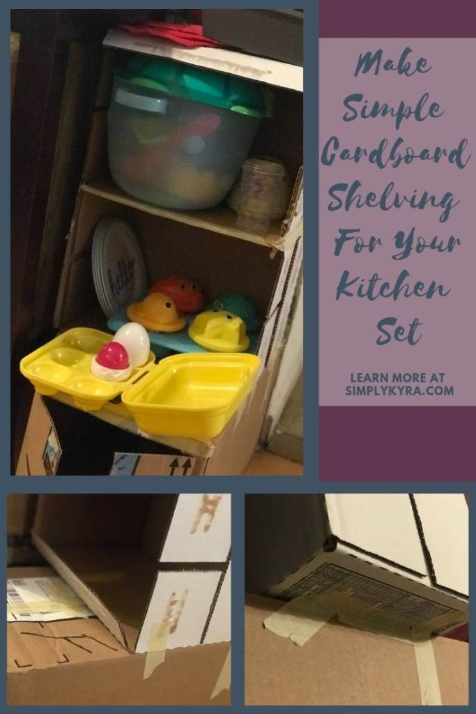 Pinterest image including pictures of the custom shelving.