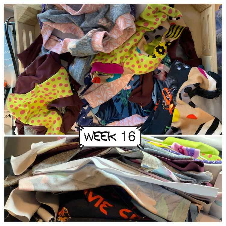 Upper and larger image is a set of nine finished underwear of a variety of knit remnants. The bottom image is a closeup of the pile of cut underwear waiting to be sewn.