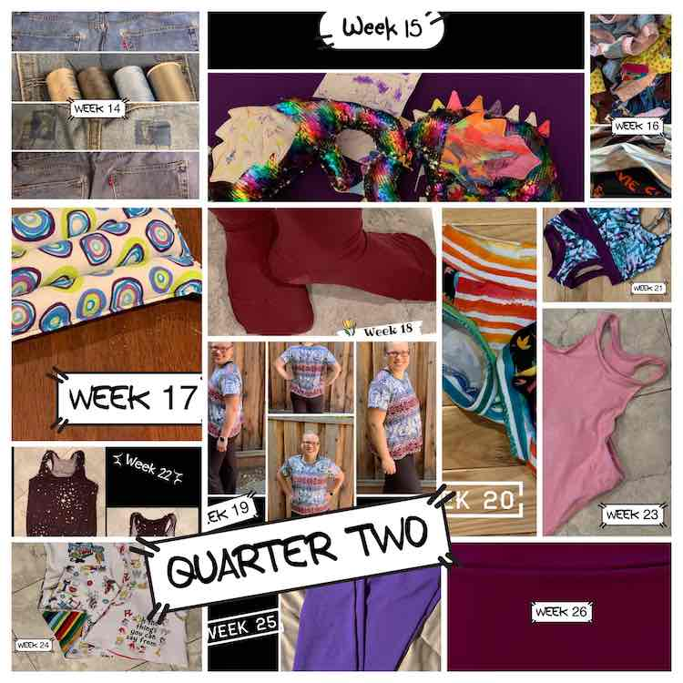 A collage of the previous 13 weeks showing the second quarter of sewing. All images are above this one.