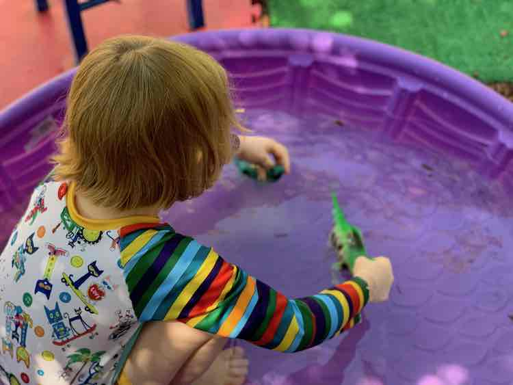Playing with dinosaurs in the pool while wearing Pete the Cat.