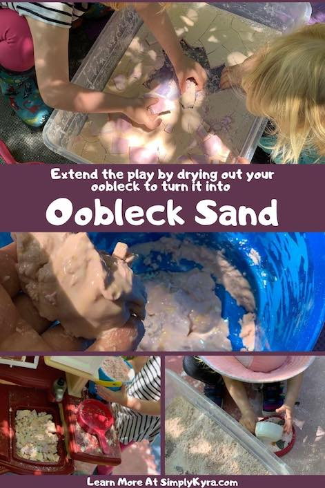 Pinterest image showing dried out oobleck, oobleck sand, and rehydrated oobleck.