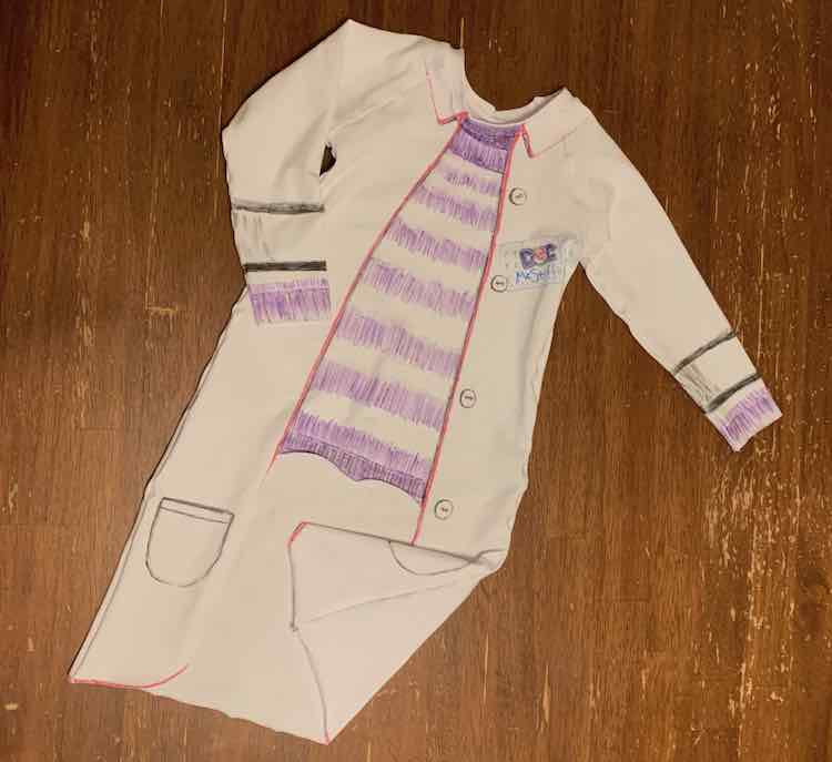 The front of the Doc McStuffins costume. The bottom right of the coat was bent forward to better see the seam.