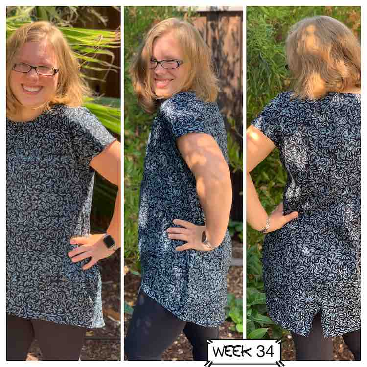 Three views of me wearing the woven Laura top.