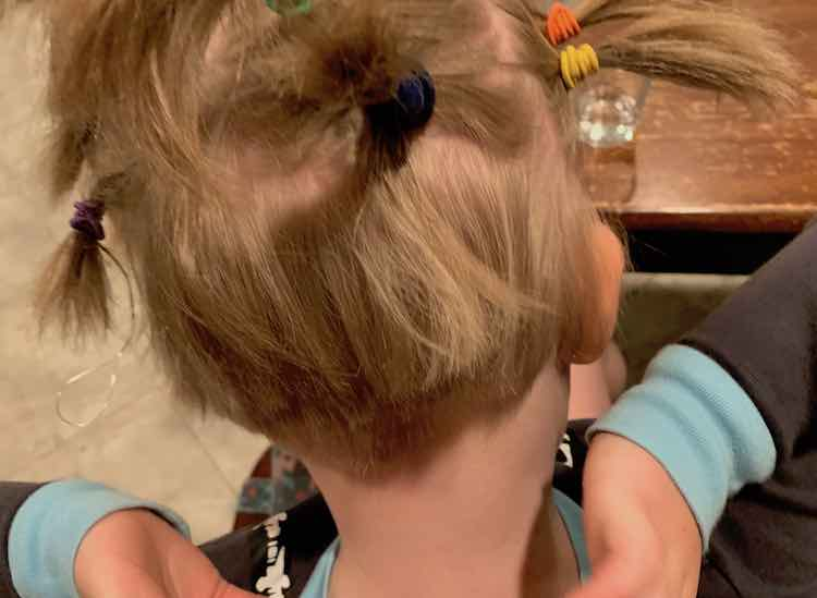 Back view of Ada's head after the ponytails were done being created. The top of her head shows several ponytails jutting out but the bottom shows short hair at the nape of her neck.