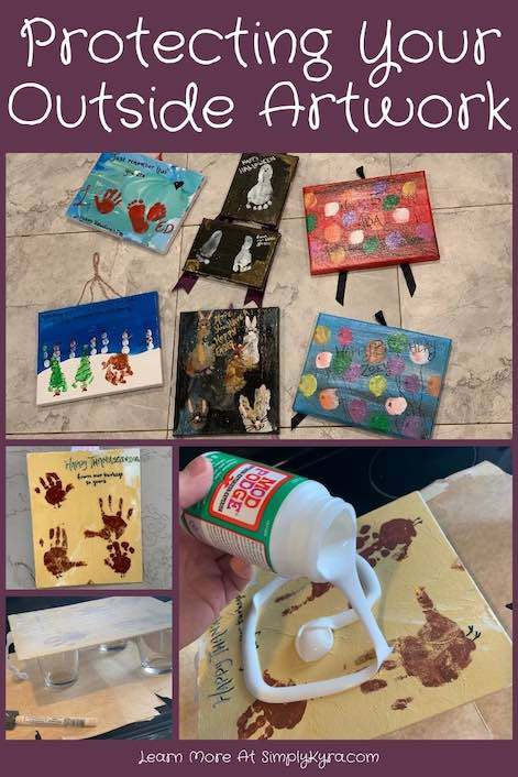 Pinterest image showing several pictures including the finished artwork and the art in progress. All pictures are also shown below.