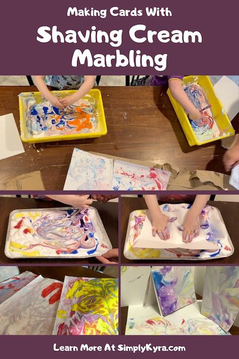 Pinterest image showing different views of marbling paper.