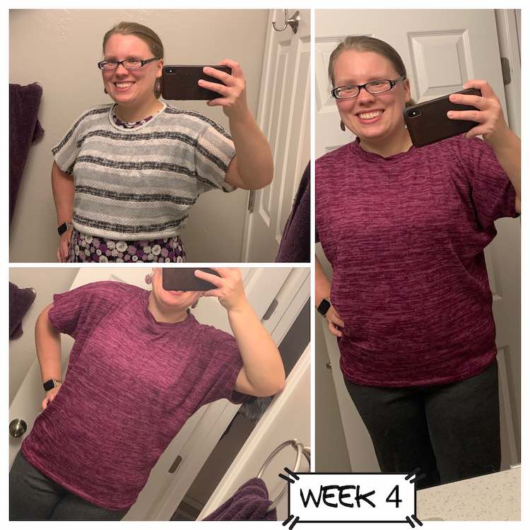 "Image shows a collage of three images and a label saying ""week 4"". The right most image shows a closeup of my full length short sleeved sweater. On the left there's two images. The one on the bottom shows the same sweater as the right one while the image on the top shows a crop top grey and white stripped sweater over a purple flowered shirt."