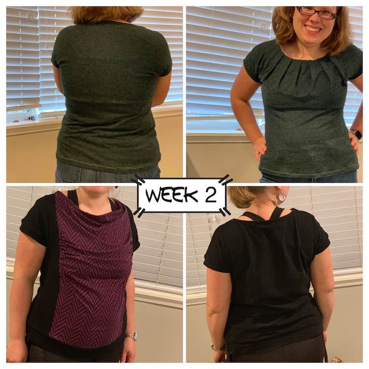 Image is a collage of four images with a label stating it's for week two in the center. The top two images shows a green t-shirt with pleats along the neckline at the front. The bottom two images shows a black banded tee with a front purple zigzag section in the front that is ruched and draped.