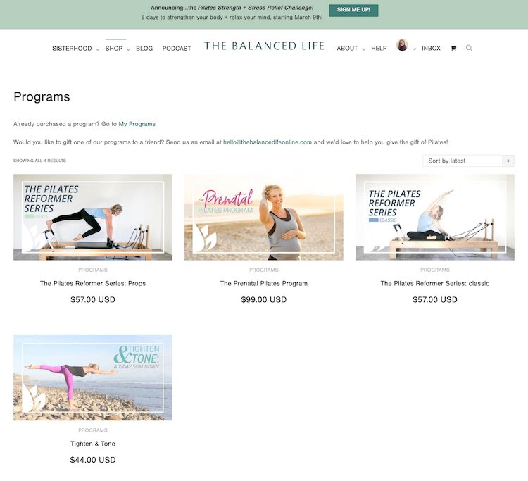 Screenshot of the program page on The Balanced Life website taken on March 2nd, 2020. This shows the currently available programs including The Pilates Reformer Series: Props, The Prenatal Pilates Program, The Pilates Reformer Series: classic, and Tighten & Tone.