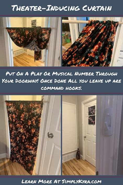 Pinterest image showing a collage of four images of the play curtain. Each image also appears below. Image also includes the title and this website's homepage.