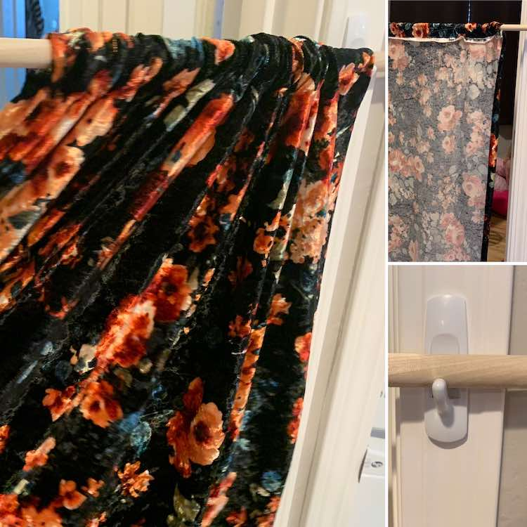 Image shows a collage of three photos and no text overlaid. The left and largest image shows a flowered curtain being pulled closed on a dowel. The top right image shows the back of the curtain and the bottom right image shows the dowel, holding up the curtain, set on the command hook.