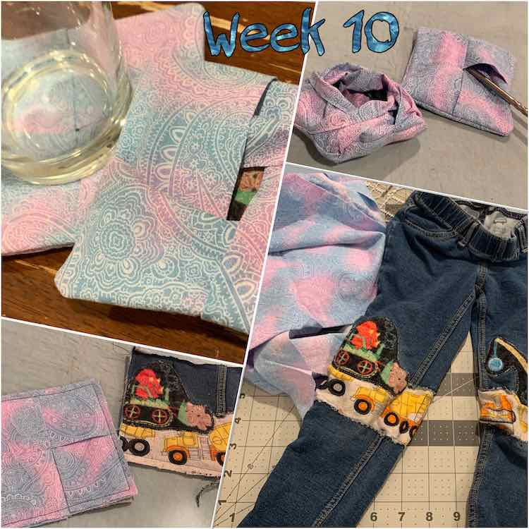 "Image shows a collage of four photos laid out at an angle and staggered. The top right and bottom left images are smaller than the other two and, along the top, is overlaid the text ""week 10"" in an ocean looking blue. The bottom right image shows a pair of patched kid's pants next to bunched up fabric. Clockwise from there is shown two inside out coasters, two normal peek-a-book coasters overlapped with a glass on one, and two coasters showing the peek-a-boo aspect better."