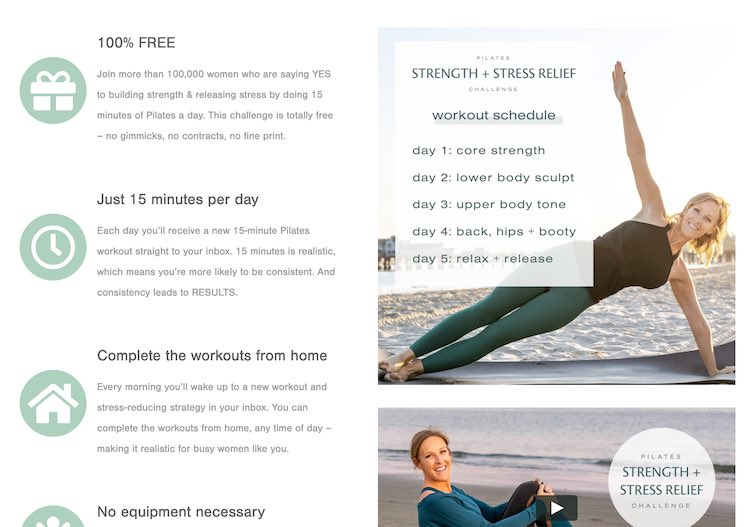 Screenshot of the Pilates Strength and Stress Relief Challenge signup page.