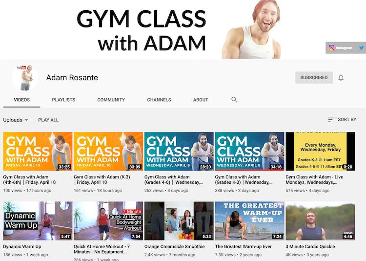 The video page on Adam Rosante's YouTube account showing the latest ten videos.
