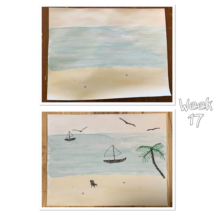 "Image shows to photos one above the other both bordered in white with a shadow. To the right is outlined white text saying ""week 17"". The top image shows the water colored paper while the bottom image shows the same paper after I took the thread to it."