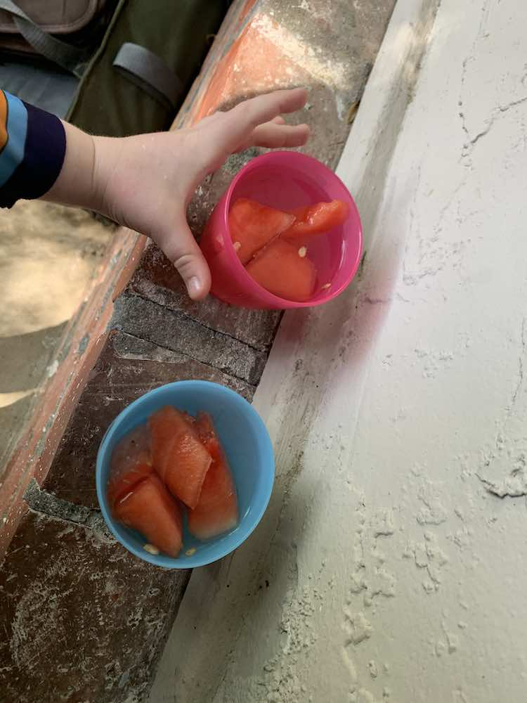 Overview of two plastic cups sitting on the brickwork outside filled with frozen watermelon and topped up with water. Ada's hand is about to grab the pink cup.
