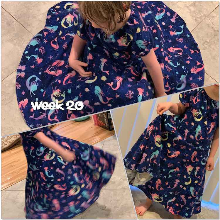 "Image is a collage of three views of Ada in the dress. The top image is from above looking down so you can see how big it gets. The bottom two are of Ada twirling and standing. There's text overlaid saying ""week 20"""