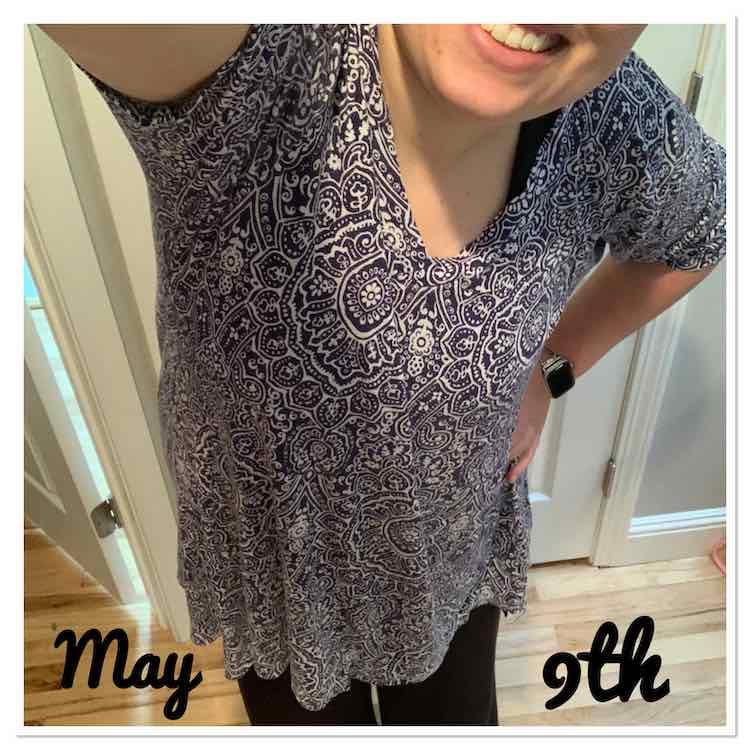 Selfie position showing a portion of my mouth and my whole shirt. I'm wearing a flow-y blue and white patterned shirt with a v-neckline and elbow length sleeves. At the bottom of the photo are the words 'May', to the left, and '9th', to the right.