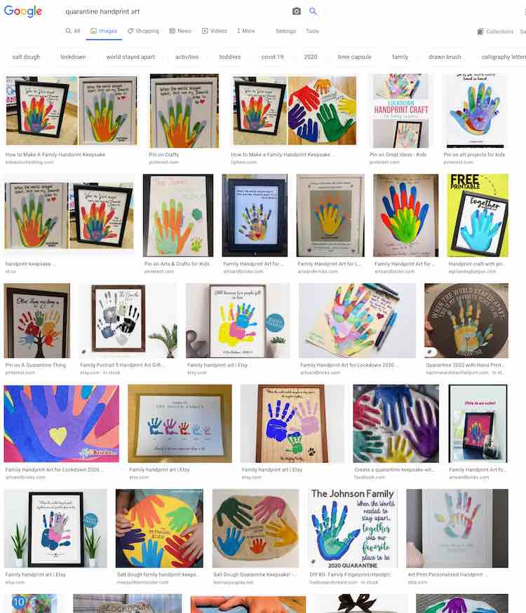 Grid of 29 images from the Google search results all showing different versions of handprint family art. Most of these are for the Covid-19 shelter-in-place.