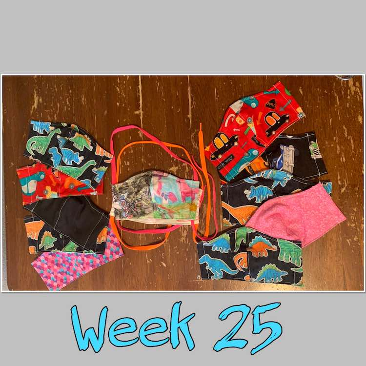 "Image is centered vertically on a grey background with the words ""week 25"" in black outlined turquoise. The image shows two colorful drawn masks stacked in the center with other masks spread around it."
