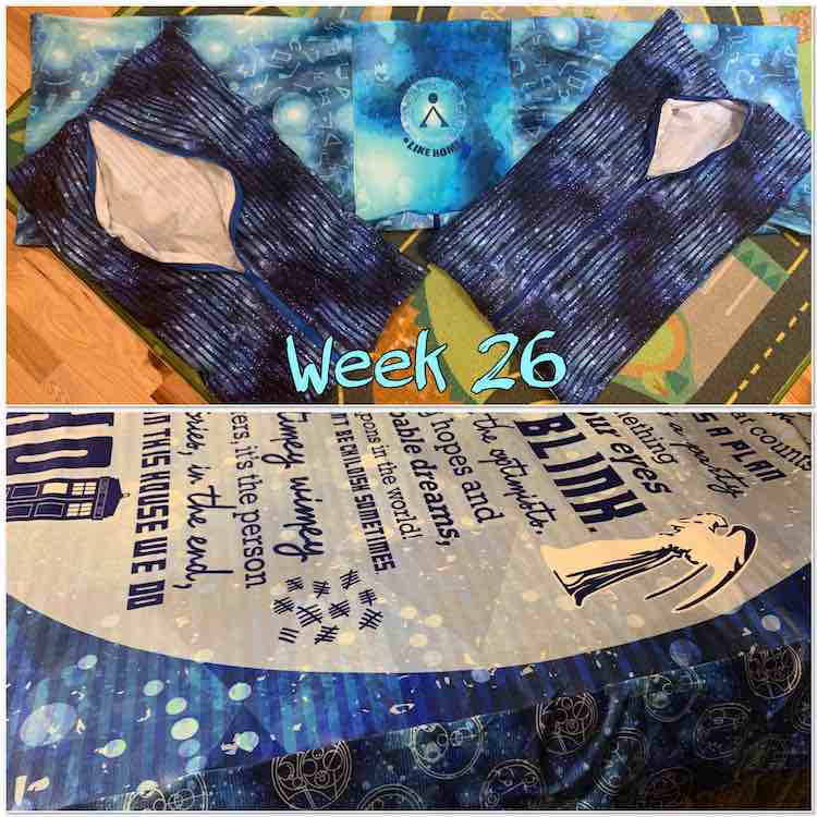 "Image shows a collage of two images with the text saying ""week 26"" in black outlined turquoise in the center. The top image shows the three pillows laid out on the ground before the pillow insert was put in. The bottom image shows part of the blanket on my bed."