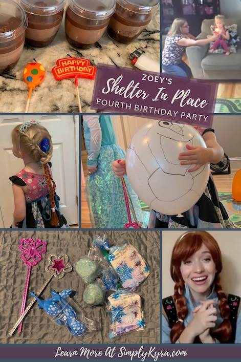 Pinterest image showing a collage of six images (also shown below), the title of the blog post, and mention of my main URL. The images consist of the chocolate mousse, Zoey blowing out candles, Zoey's hairstyle, my hastily drawn on Olaf balloon, the goodie bag contents, and Anna.