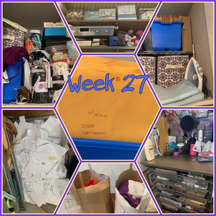"Image says ""week 27"" in blue just off center. The image is composed of a collage of seven photos. The center one is a hexagon shaped photo containing a closeup of the envelopes in a blue container. From the bottom left clockwise the rest of the images contain a drawer filled with printed PDFs helter skelter, a messily organized and full shelf, organized shelves and drawer, organized closet shelf showing the PDFs and other things, my organized desk and drawers, and finally my bags containing the scrap knit and woven separated out for future projects."