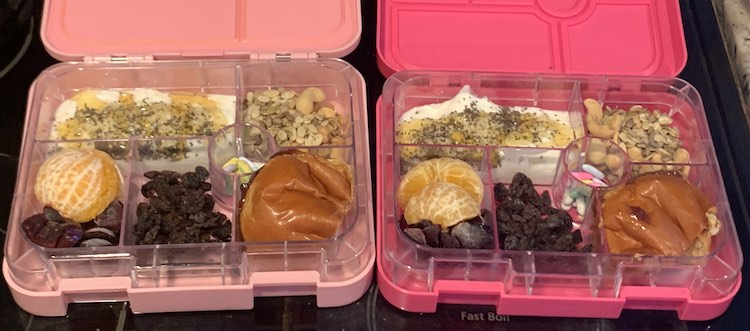 Image shows two bento lunchboxes with yogurt, oranges, cherries, raisins, mix of cashews and various seeds, licorice nibs, and a half sandwich.