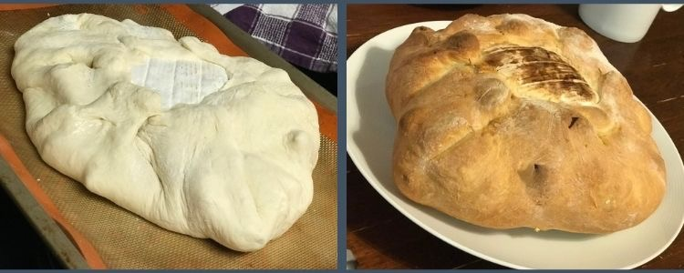 Image shows two photos side by side showing the formed unbaked loaf with the brie showing in the center, on the left, and, on the right, the final baked loaf with the browned brie top.