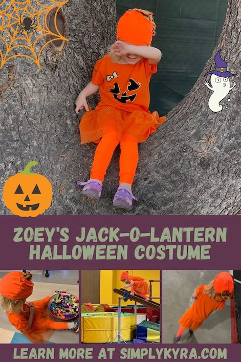 Pinterest image showing a collage of four images of Zoey's final jack-o-lantern costume. All images can be found below. The image also includes a title, my main url, and several adorable Halloween clipart images.