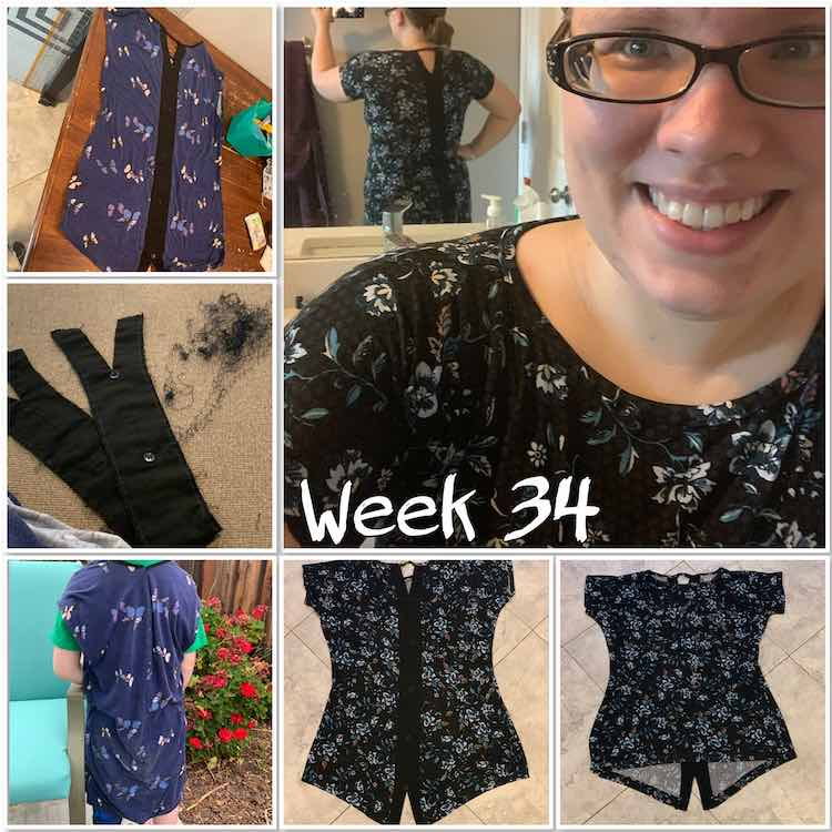 "Image is a collage of six different photos along with text saying ""Week 34"". The largest image is on the top right showing me wearing the shirt with my back to the mirror so the camera can see the back of my shirt. From top down and across the rest of the photos show my old shirt back, the back detail after it's been seam ripped out, the sewn back together top on Ada, the finished shirt's back, and the front of the final shirt."