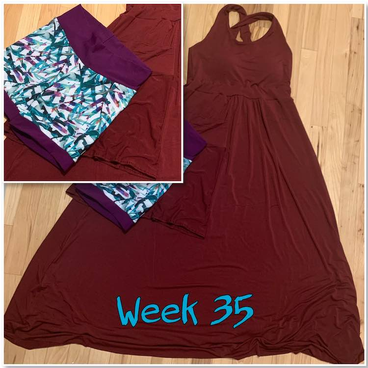 "Image is a small square in the upper left corner super imposed over the larger square image. The smaller one is a closeup of the swim leafed shorts and the matching shorts. The larger image is from further away so the focus is on the dress behind the shorts. At the bottom it says ""week 35"" in turquoise."