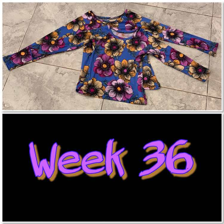 "Image is a photo of two long sleeved flowered shirts overlapping laid out on the kitchen floor. Below them is a black space with bright letters spelling out ""week 36"";."