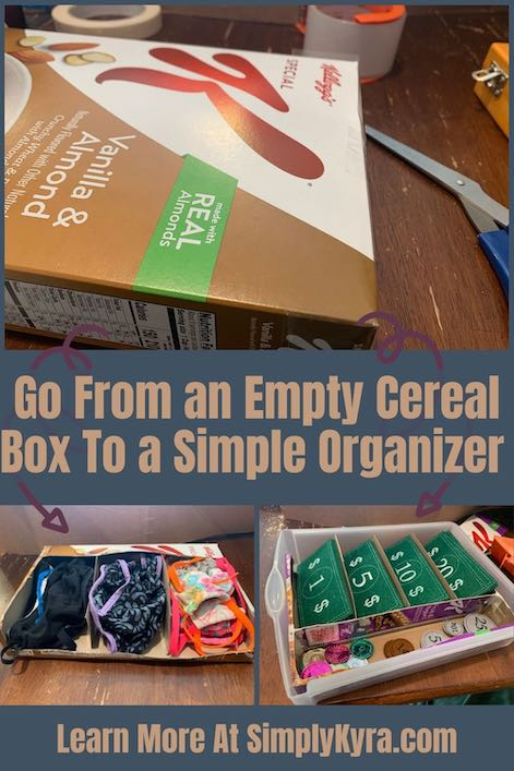 Collage image geared towards Pinterest showing three images, a title, and the main URL. The top image stretches the width of the image and shows an emptied Special K cereal box. There are two purple areas pointing to two, side by side, images below showing the two cardboard organizer. The one on the left shows three separate piles of masks while the one on the right is inside a plastic drawer and separates play money.