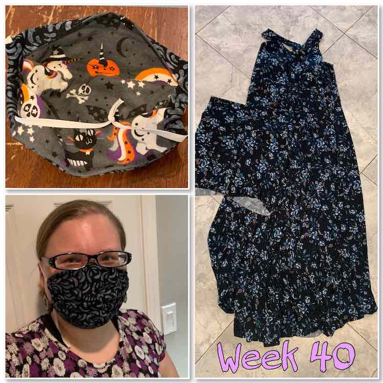 "Image is a collage of three images again. The rightmost image shows a flowered floor length dress with a matching pair of shorts laid overtop. The two images on the left show the Iris Luckhaus face mask on my face, bottom, and the inside view, top. At the bottom right there's lavender text saying ""week 40""."