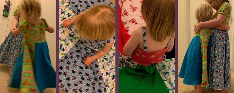 Image shows a collage of four images side by side. The outer two show both girls wearing a peasant topped dress while the inner two show a single dress (the hacked patsy) from above. All four dresses are unique because of the fabric choices.