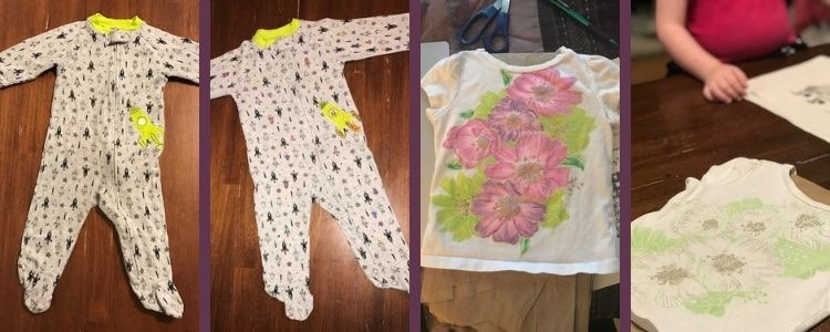 Image is a collage of four images. The left images are of a long sleeved and leg baby onesie while the right two images are of a glittery flower shirt. The outer two images are plain (before altering) and the inner two are colorful (after opening the fabric markers).