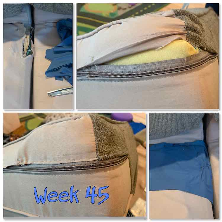"Image is a collage of four photos and the words ""week 45"". The top two images show the ripped fabric above the wood and by the cushion's zipper. The bottom two images show the mended couch cushion and the base with the covered wood."