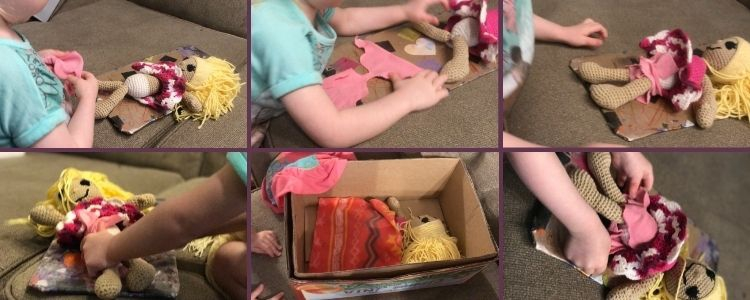 Image is a collage of six photos. The top three and bottom outer two shows Ada putting a diaper onto her crocheted doll while it lays on the newly created changing pad. The bottom center image shows the doll all tucked in within a box ready to sleep with a clean diaper.
