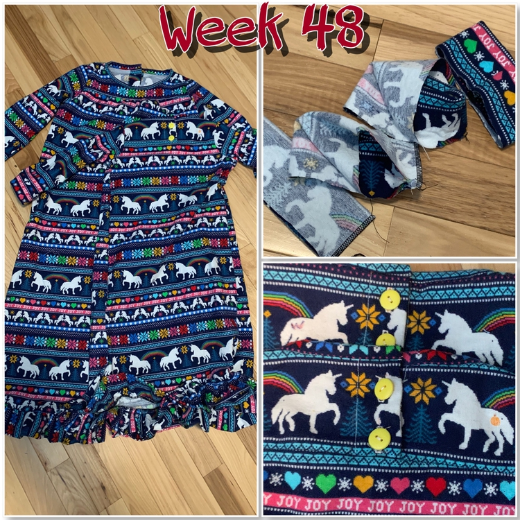 "The image is a collage of three photos with the text saying ""week 48"" centered at the top. The left image shows both dresses laid out on the ground. The rightmost images shows the sewn cuffs, top, and a closeup of the back with the buttons and added fabric marker cutie marks."