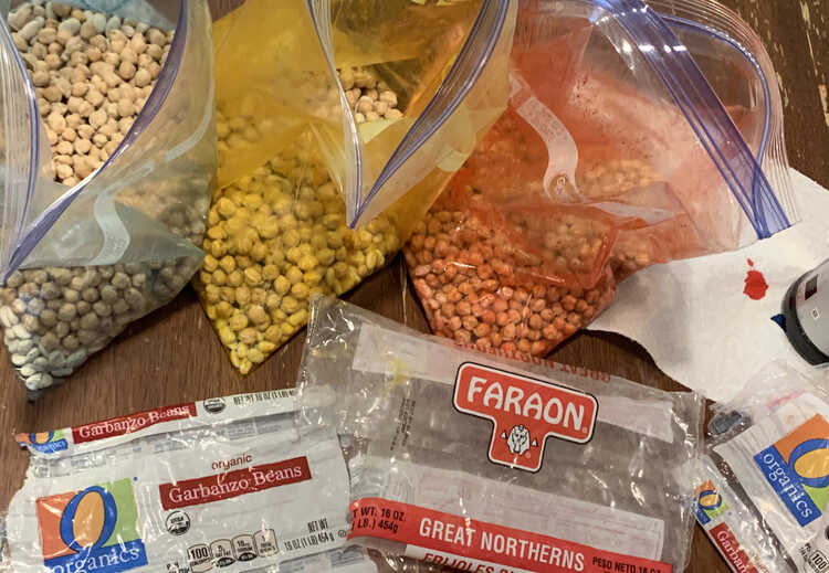 Image shows three large freezer bags dyed blue, yellow, and red containing white beans. Below them lay the emptied plastic bags and to the right is a sheet of paper towel with a bottle of red food dye on it.