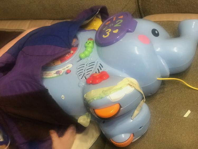 Image shows a large plastic elephant pull toy being tucked under a blanket carefully with a masking tape bandage applied to it's foot.